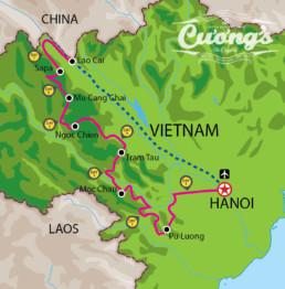 Northwest Vietnam off-road motorbike tour map cuongs