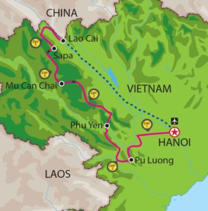 Sapa Vietnam Motorbike tour map