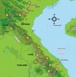 VN Laos Ho Chi MInh Trail Tour Map
