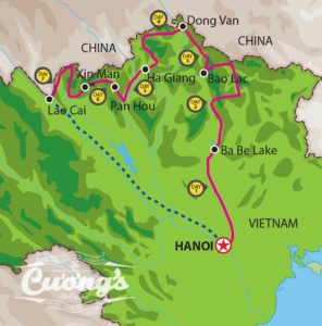 Ha Giang Border tour 7D 7N Map